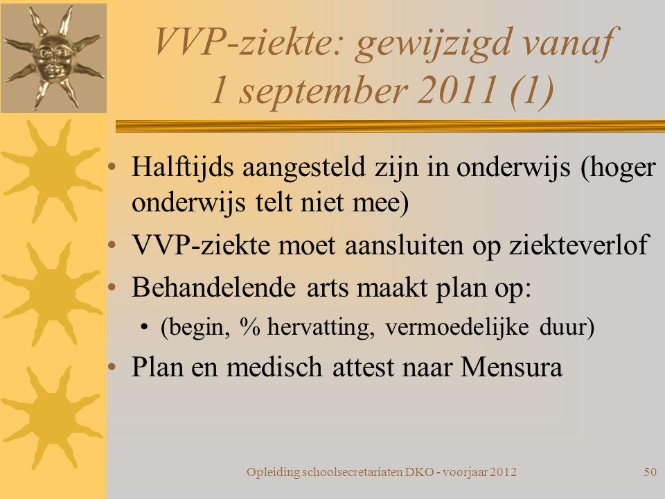 VVP-ziekte: gewijzigd vanaf 1 september 2011 (1)