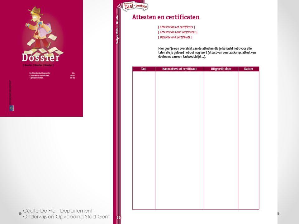 Cécile De Fré - Departement Onderwijs en Opvoeding Stad Gent