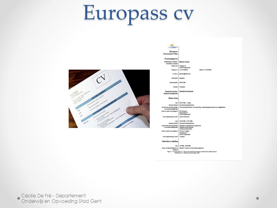 Europass cv Cécile De Fré - Departement Onderwijs en Opvoeding Stad Gent
