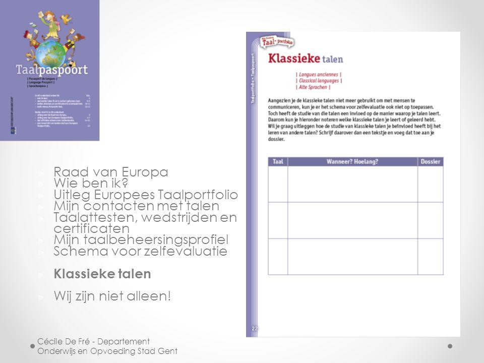 Uitleg Europees Taalportfolio Mijn contacten met talen