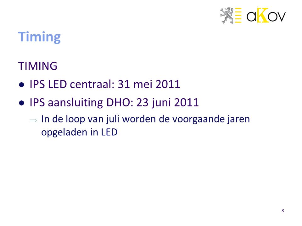 Timing TIMING IPS LED centraal: 31 mei 2011