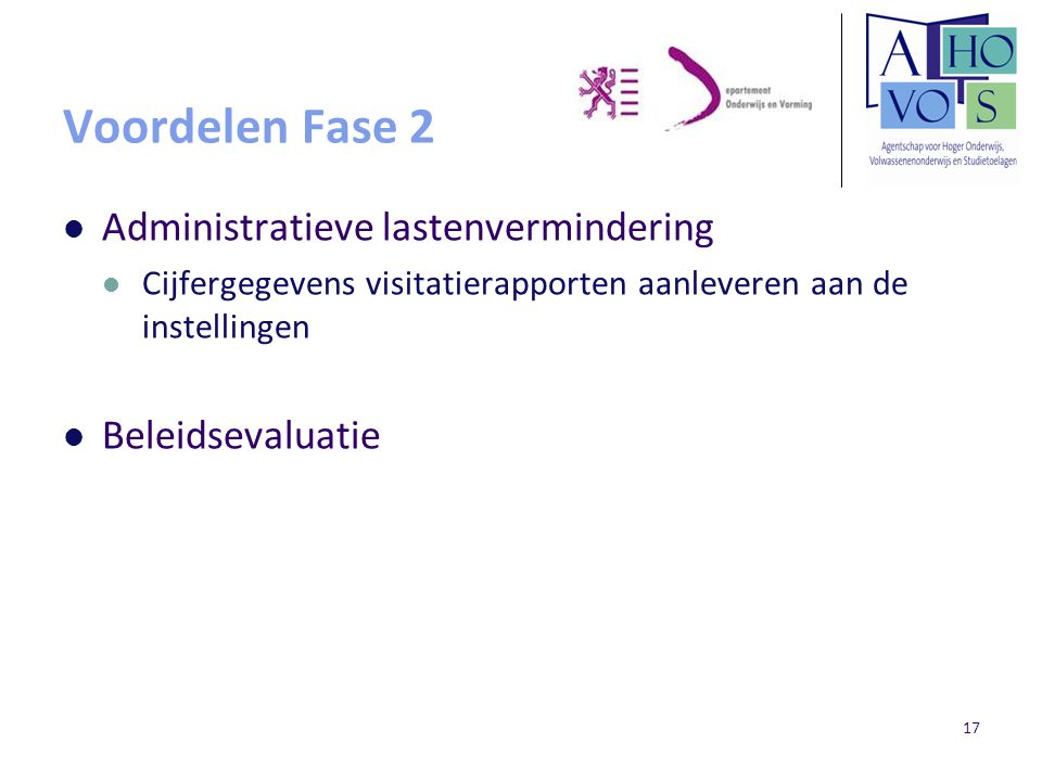 Voordelen Fase 2 Administratieve lastenvermindering Beleidsevaluatie
