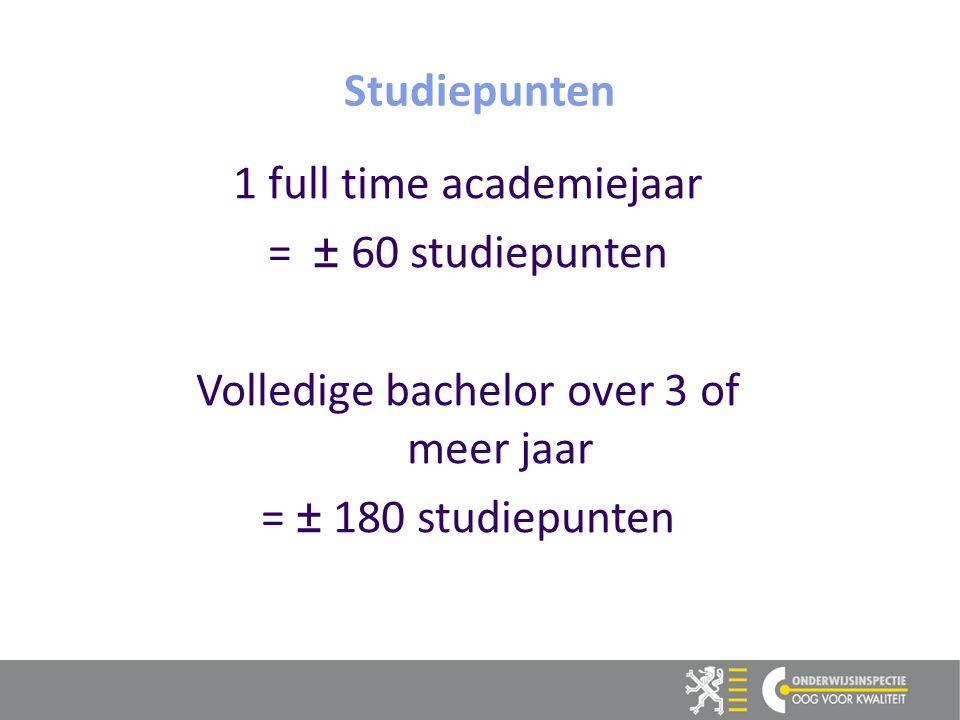 1 full time academiejaar = ± 60 studiepunten