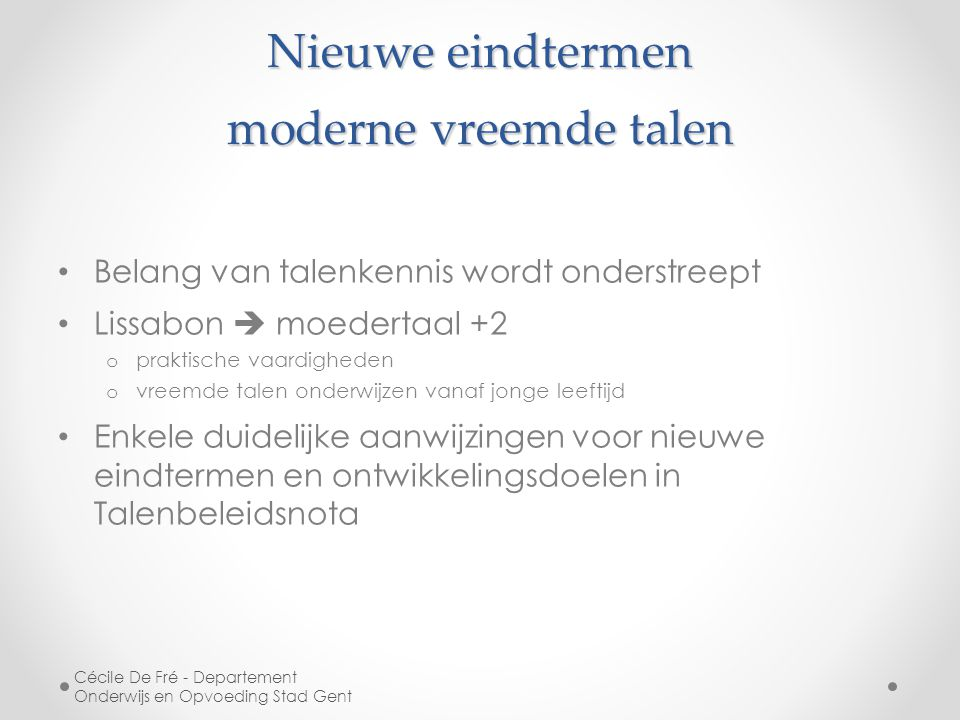 Nieuwe eindtermen moderne vreemde talen
