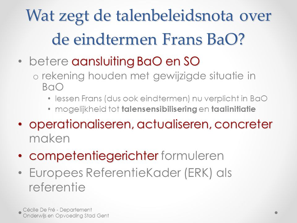 Wat zegt de talenbeleidsnota over de eindtermen Frans BaO