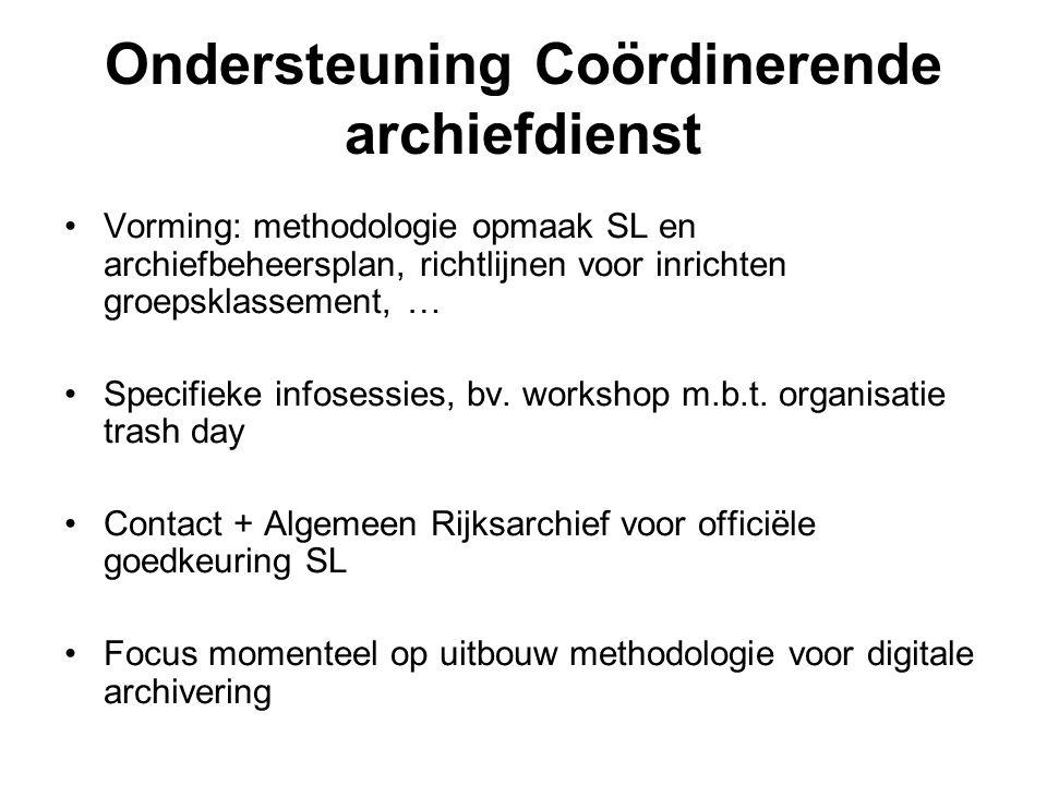 Ondersteuning Coördinerende archiefdienst