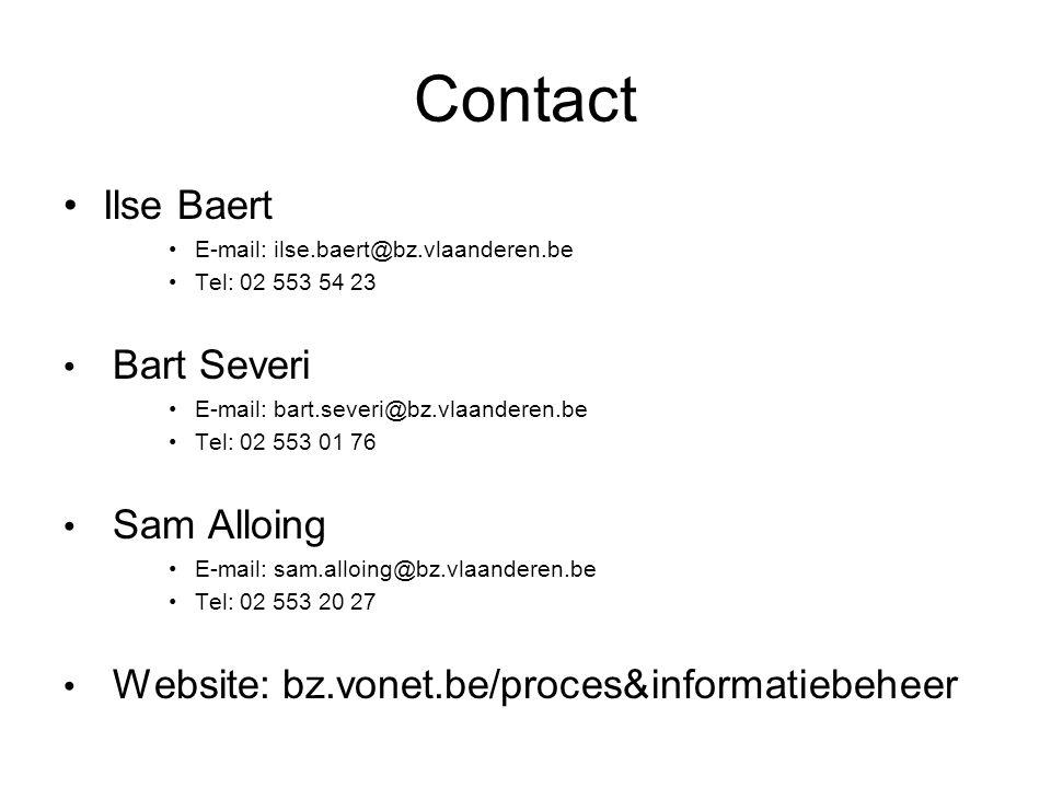 Contact Ilse Baert Bart Severi Sam Alloing