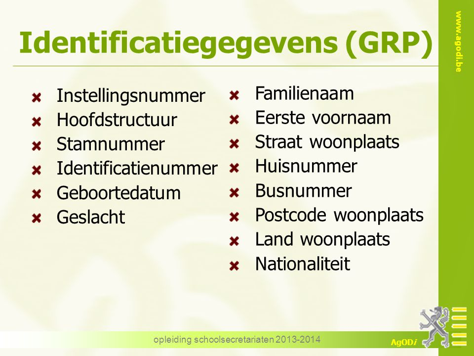 Identificatiegegevens (GRP)
