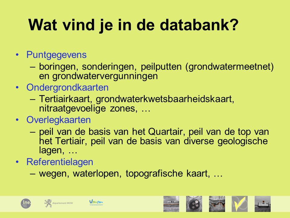 Wat vind je in de databank