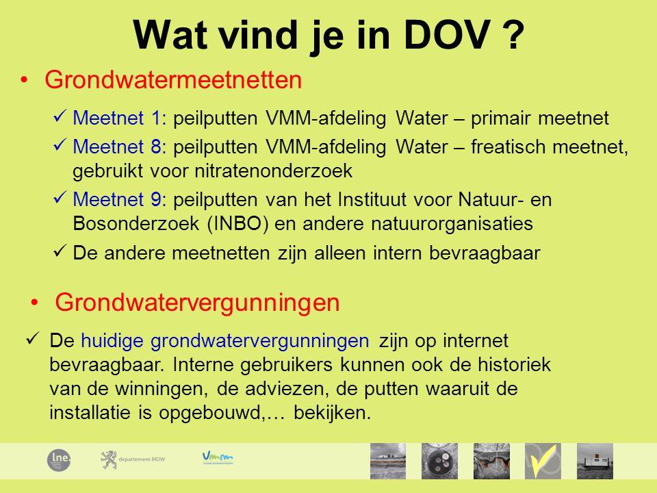 Wat vind je in DOV Grondwatermeetnetten Grondwatervergunningen