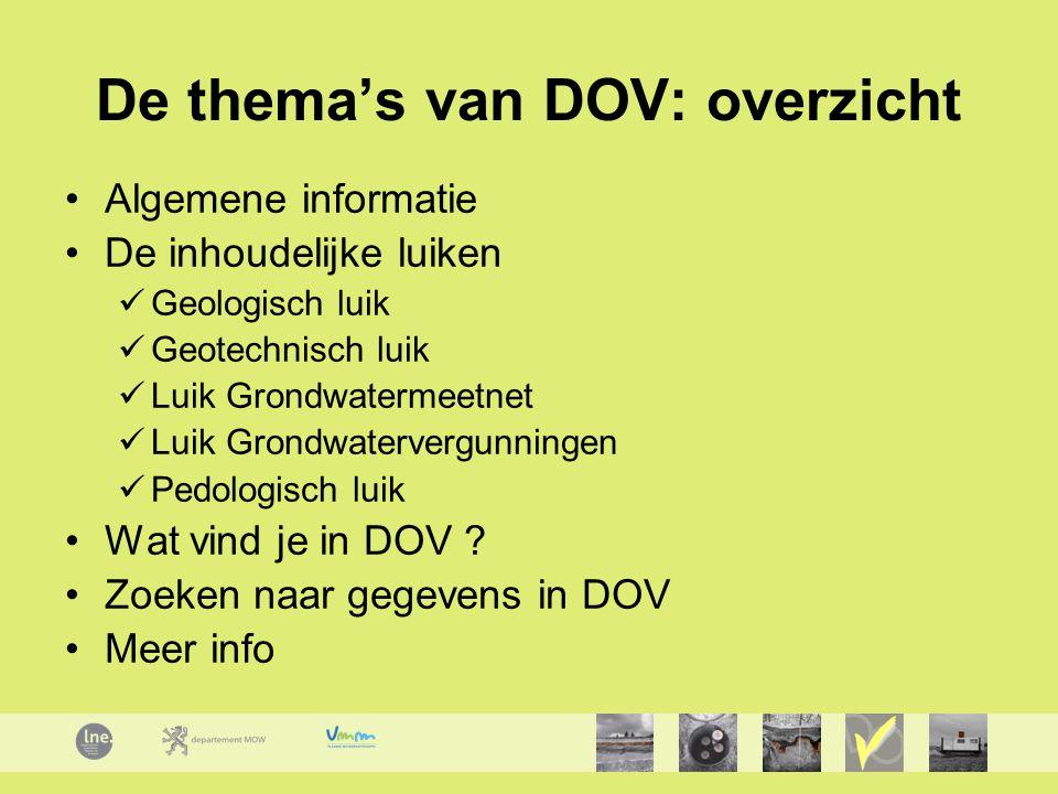 De thema's van DOV: overzicht
