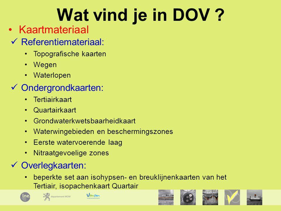 Wat vind je in DOV Kaartmateriaal Referentiemateriaal: