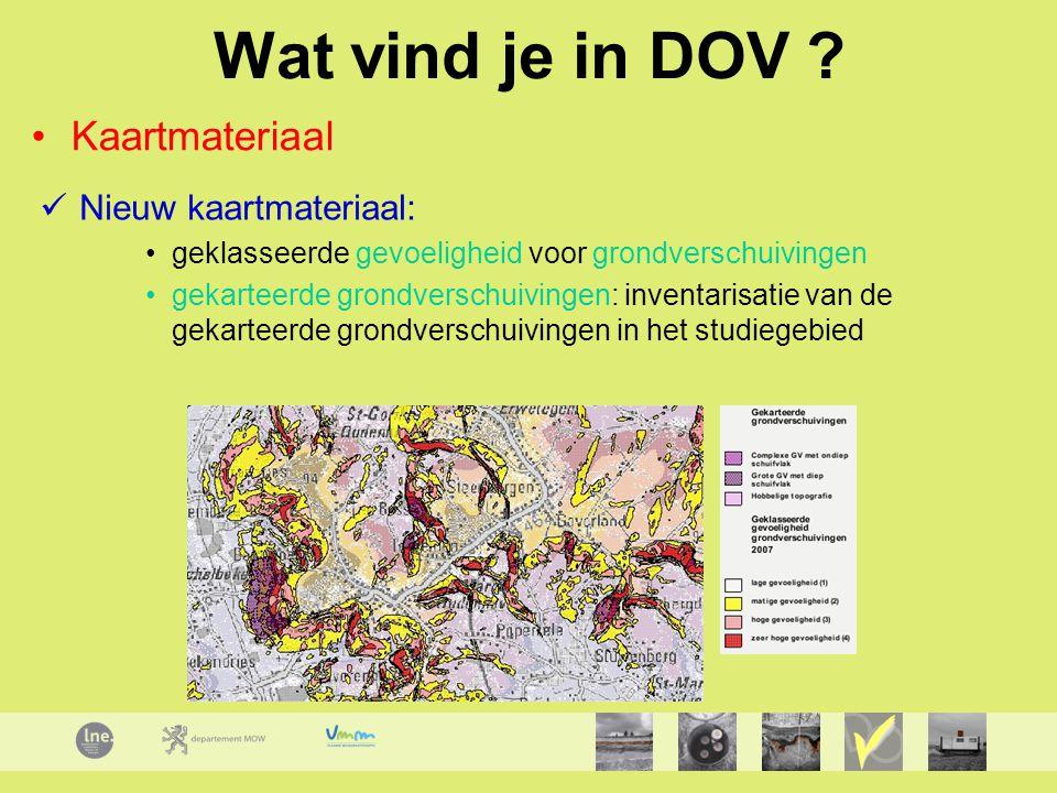 Wat vind je in DOV Kaartmateriaal Nieuw kaartmateriaal: