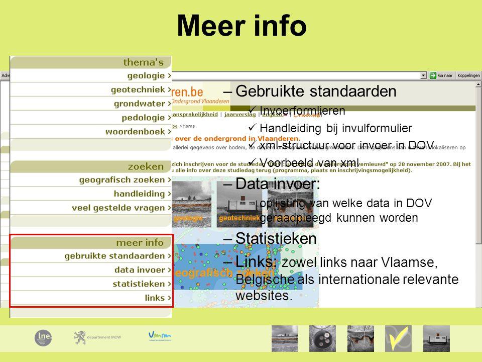Meer info Gebruikte standaarden Data invoer: Statistieken