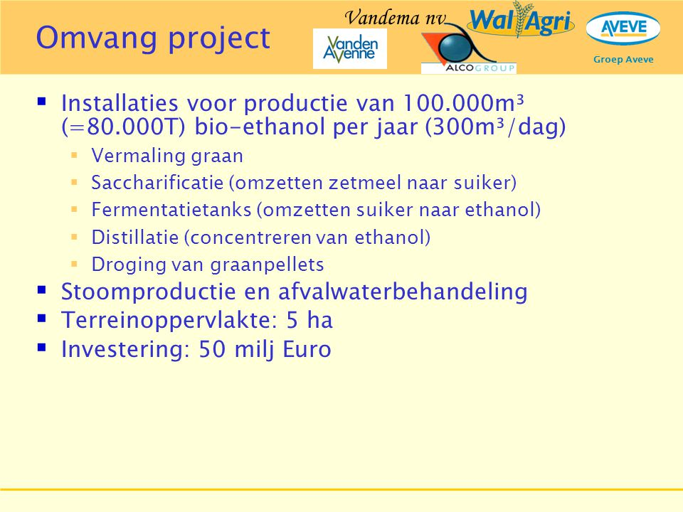 Omvang project Vandema nv