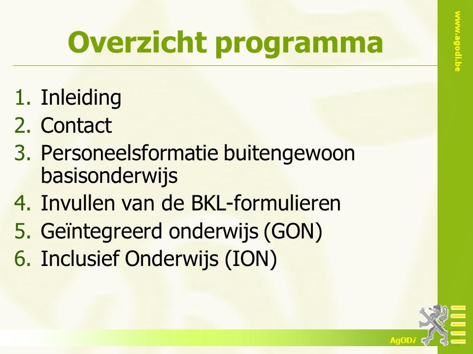 Overzicht programma Inleiding Contact