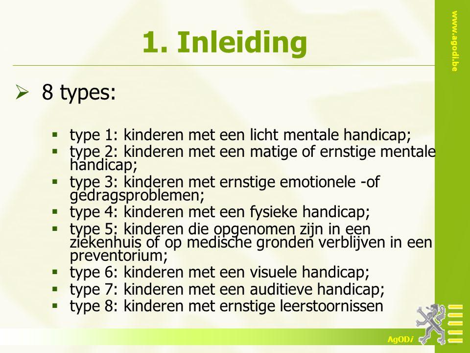 1. Inleiding 8 types: type 1: kinderen met een licht mentale handicap;