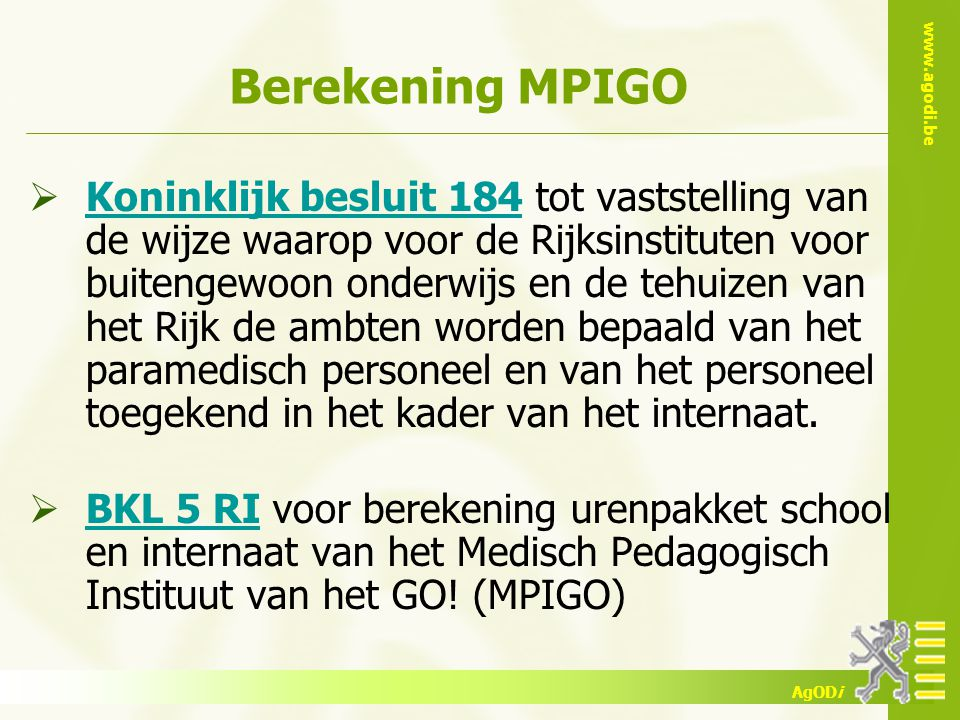 Berekening MPIGO