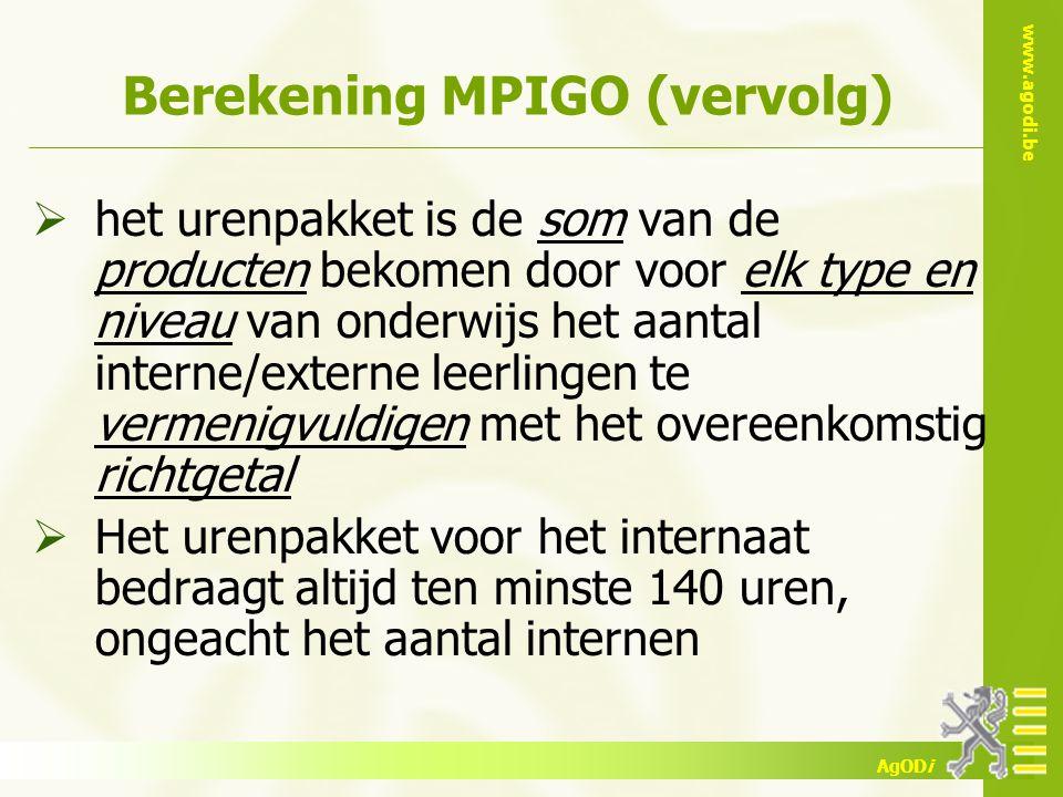 Berekening MPIGO (vervolg)