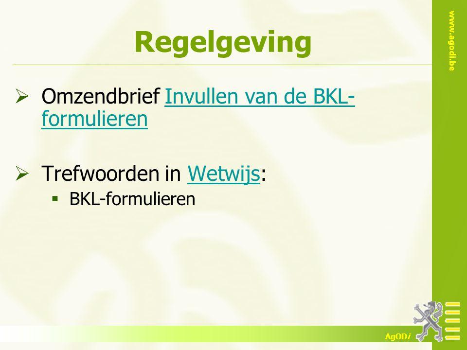 Regelgeving Omzendbrief Invullen van de BKL-formulieren