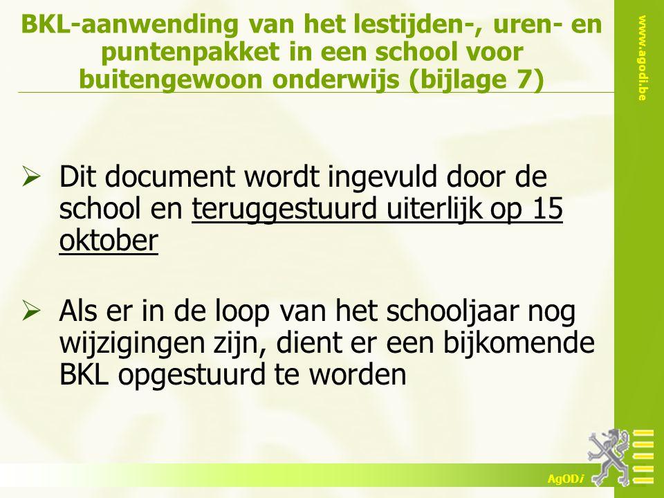 BKL-aanwending van het lestijden-, uren- en puntenpakket in een school voor buitengewoon onderwijs (bijlage 7)