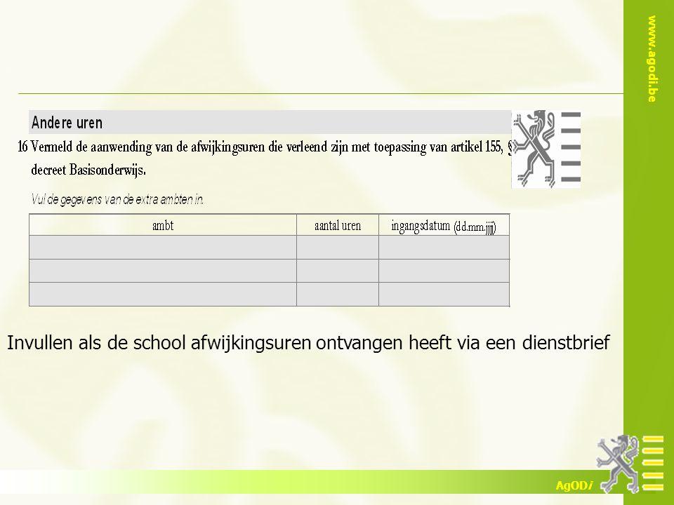 Invullen als de school afwijkingsuren ontvangen heeft via een dienstbrief