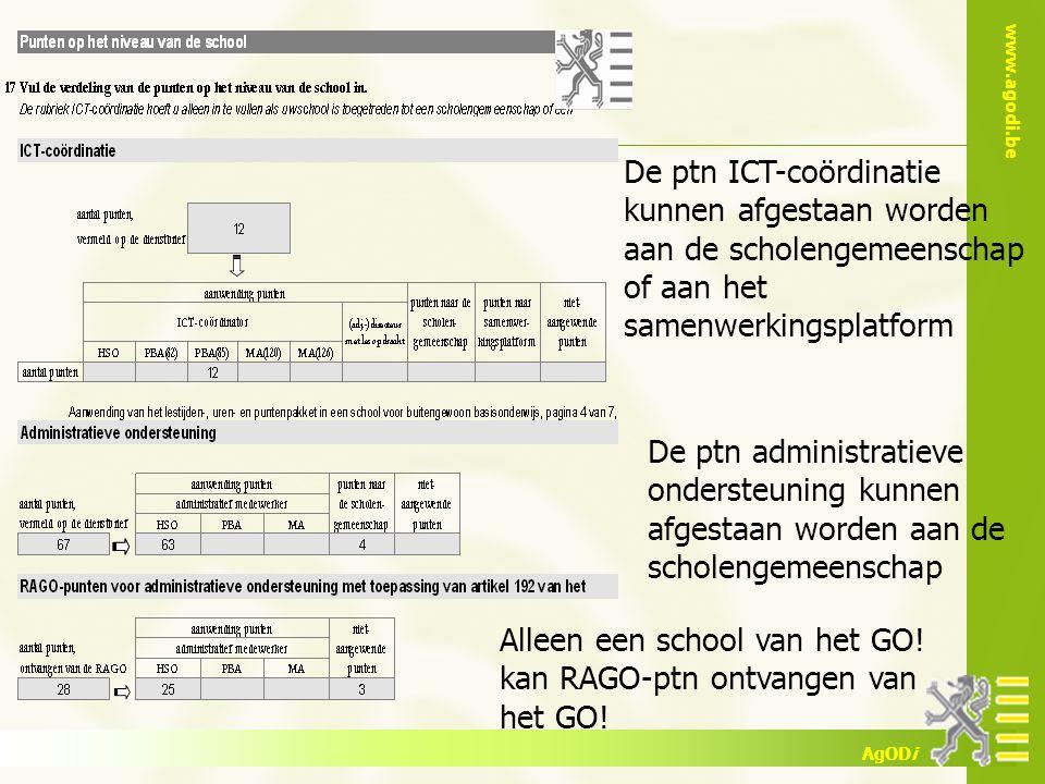 De ptn ICT-coördinatie kunnen afgestaan worden aan de scholengemeenschap of aan het samenwerkingsplatform