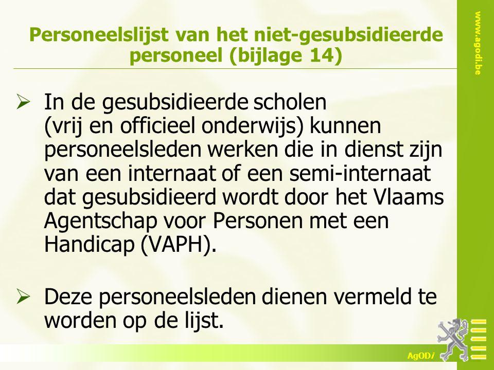 Personeelslijst van het niet-gesubsidieerde personeel (bijlage 14)