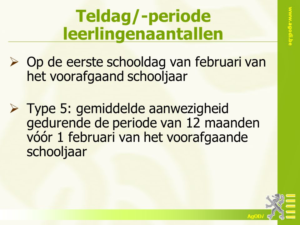 Teldag/-periode leerlingenaantallen