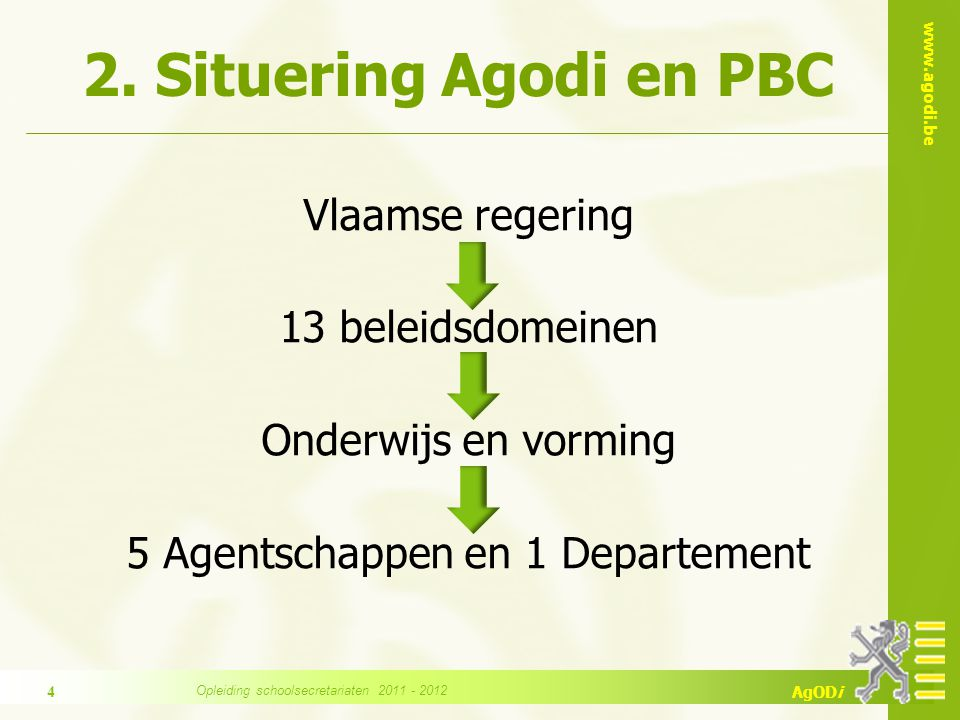 2. Situering Agodi en PBC Vlaamse regering 13 beleidsdomeinen