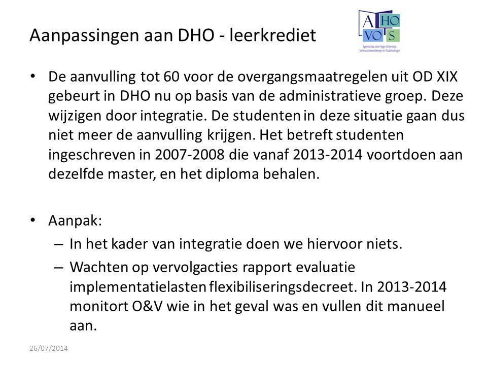 Aanpassingen aan DHO - leerkrediet