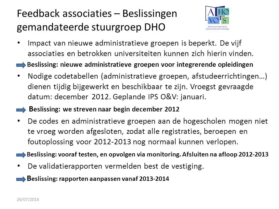 Feedback associaties – Beslissingen gemandateerde stuurgroep DHO