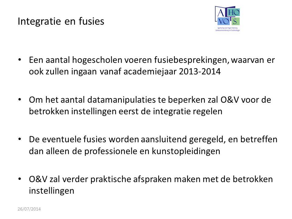 Integratie en fusies Een aantal hogescholen voeren fusiebesprekingen, waarvan er ook zullen ingaan vanaf academiejaar 2013-2014.