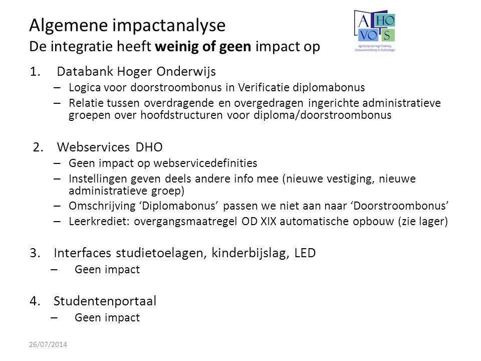 Algemene impactanalyse De integratie heeft weinig of geen impact op