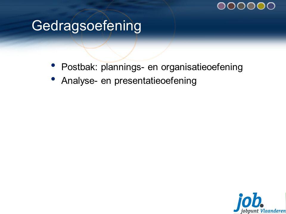 Gedragsoefening Postbak: plannings- en organisatieoefening