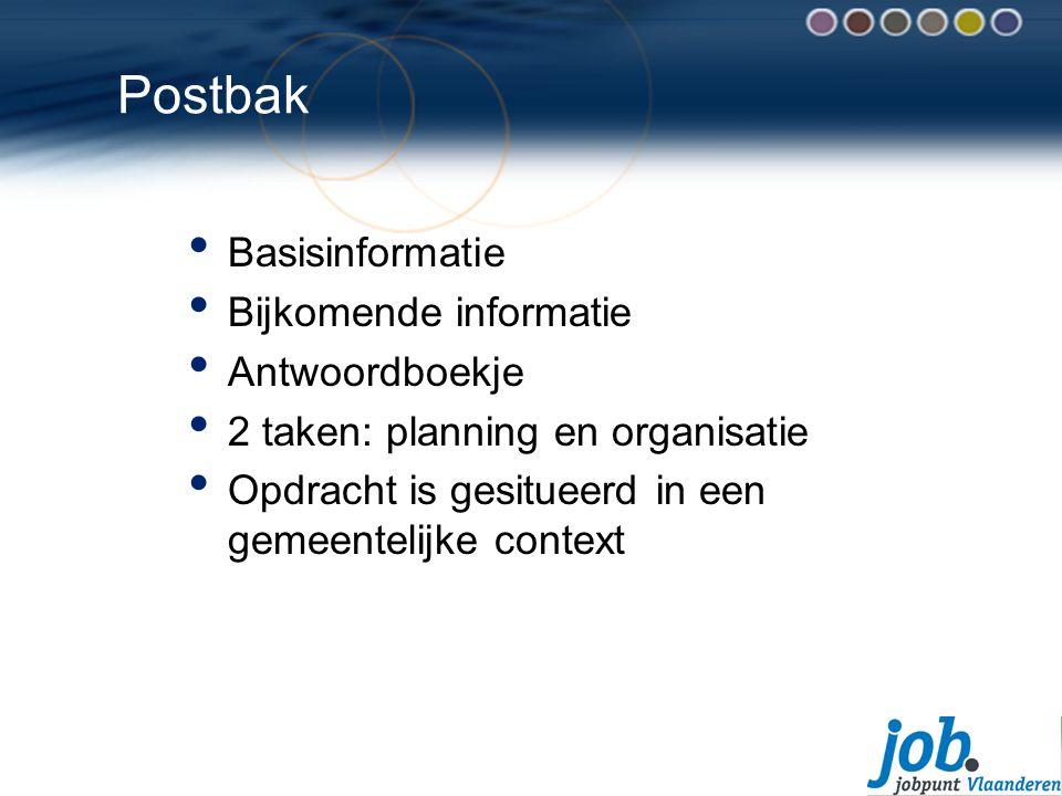 Postbak Basisinformatie Bijkomende informatie Antwoordboekje