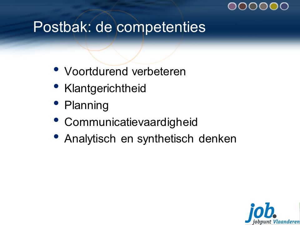 Postbak: de competenties