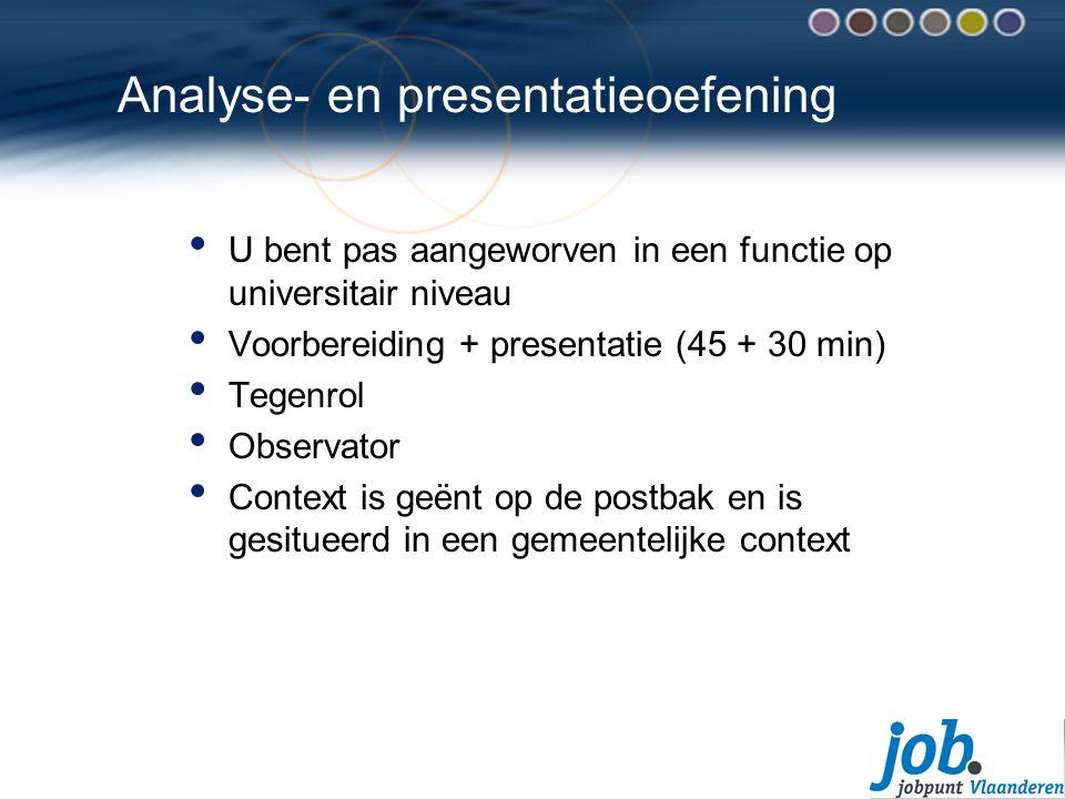 Analyse- en presentatieoefening