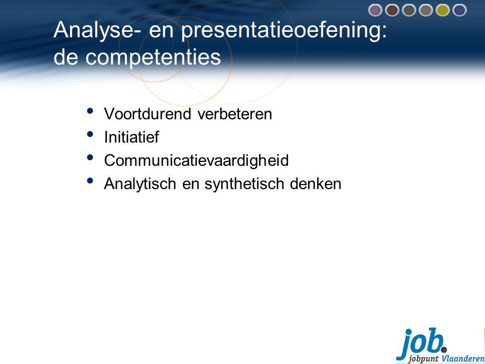 Analyse- en presentatieoefening: de competenties