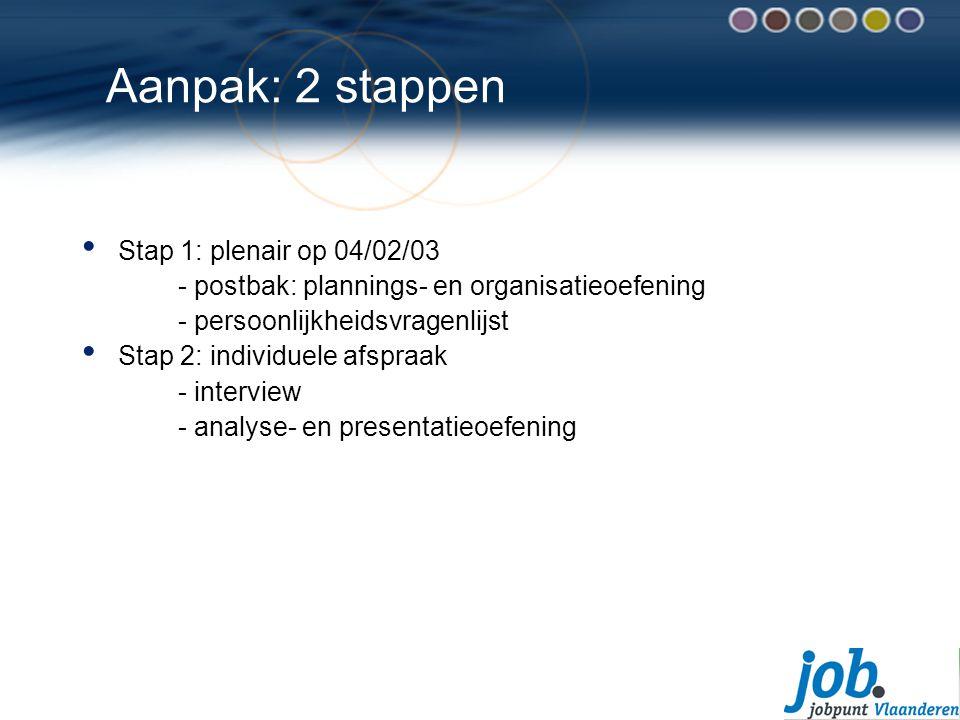 Aanpak: 2 stappen Stap 1: plenair op 04/02/03