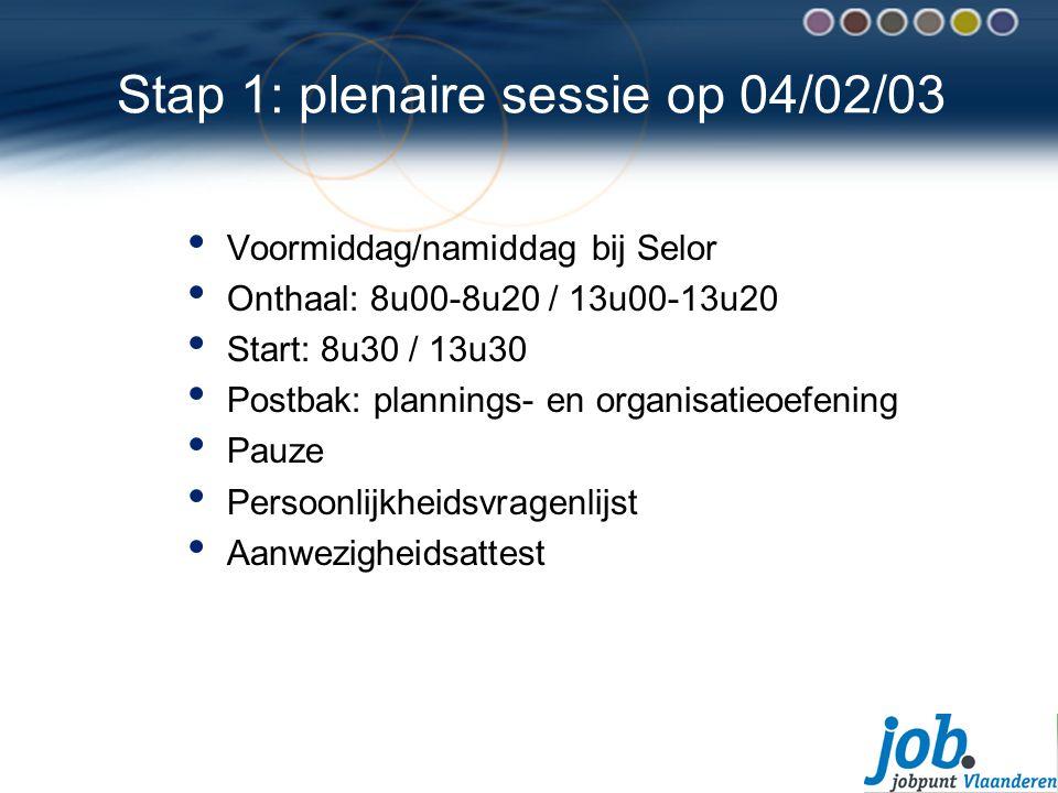 Stap 1: plenaire sessie op 04/02/03