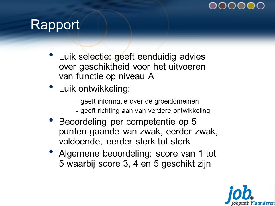 Rapport Luik selectie: geeft eenduidig advies over geschiktheid voor het uitvoeren van functie op niveau A.