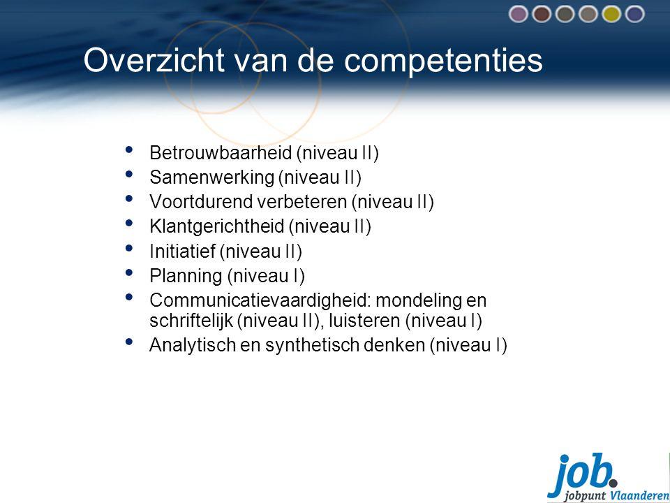 Overzicht van de competenties