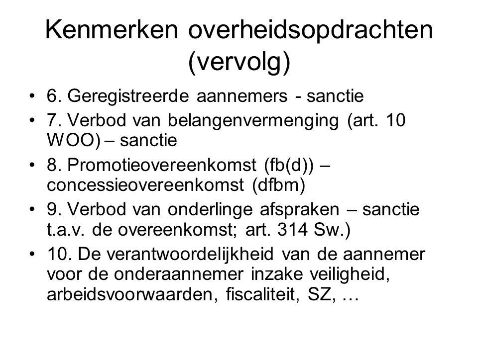 Kenmerken overheidsopdrachten (vervolg)
