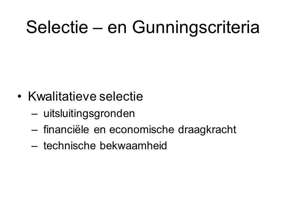 Selectie – en Gunningscriteria