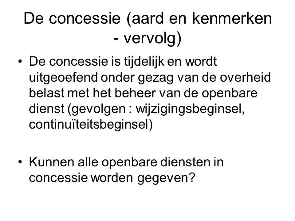 De concessie (aard en kenmerken - vervolg)