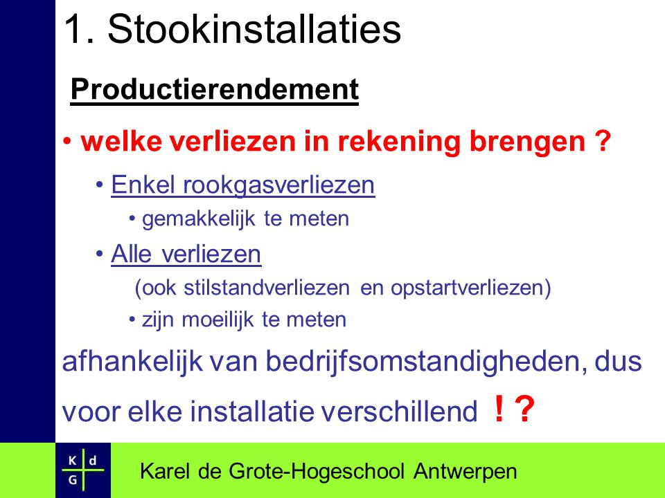 1. Stookinstallaties Productierendement