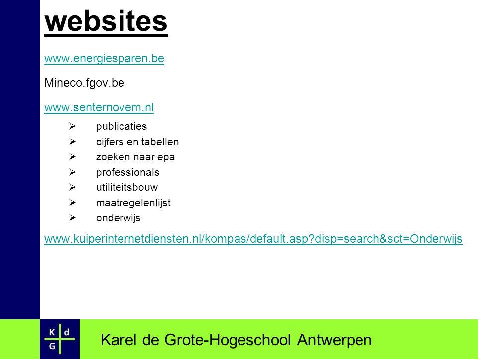 websites Karel de Grote-Hogeschool Antwerpen www.energiesparen.be