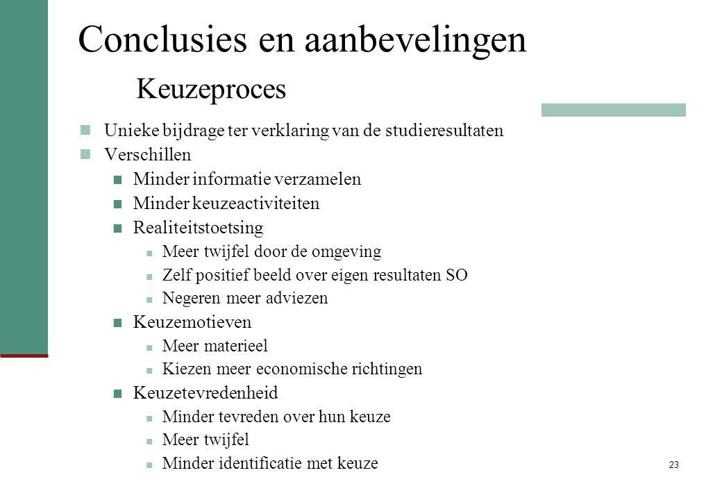 Conclusies en aanbevelingen Keuzeproces