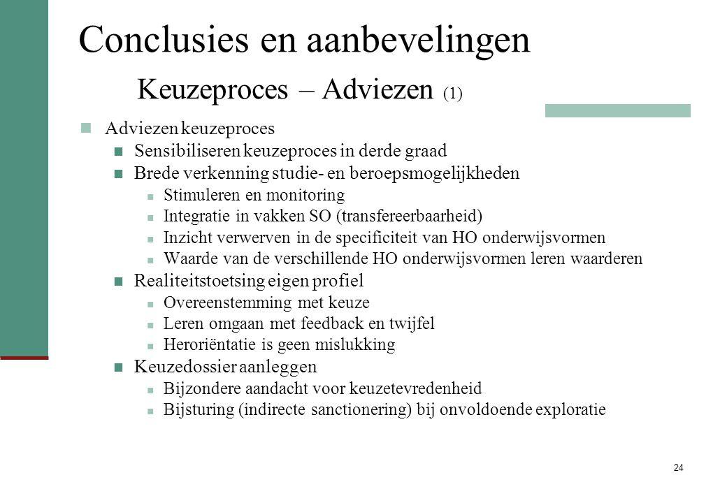 Conclusies en aanbevelingen Keuzeproces – Adviezen (1)